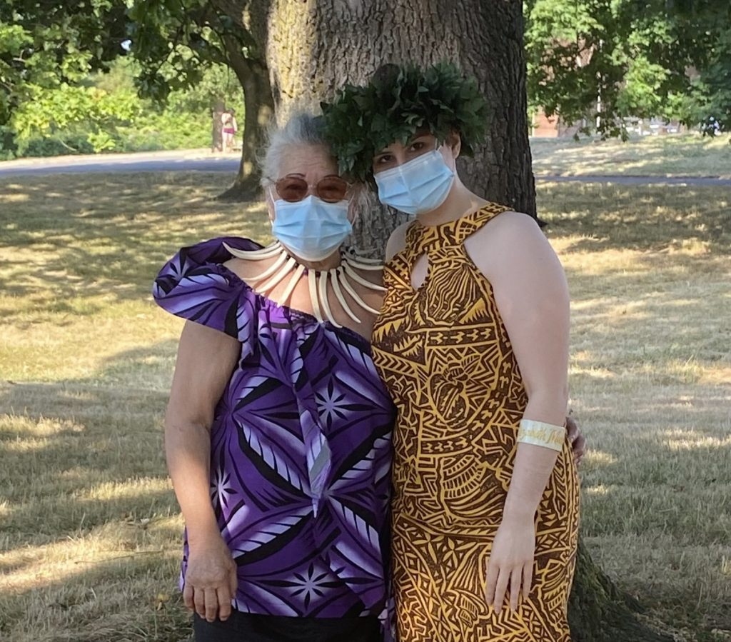 Poet Elizabeth Paulson with her Grandmother. Covid is rampant in the Pacific Islander community and the writer wanted to use this opportunity to destigmatize mask wearing.